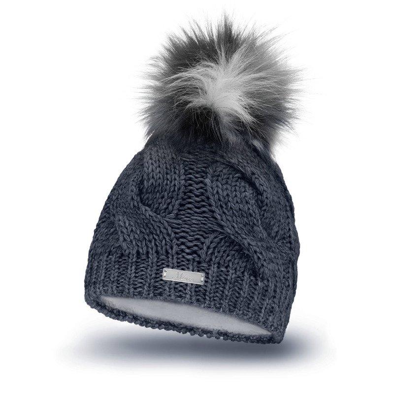 Mikos* Damen Mütze WinterWarme Strickmütze mit BommelInnenfleece 685